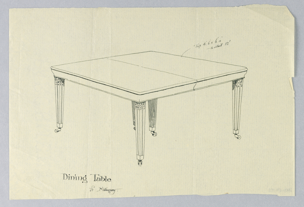 Rectangular molded table top with dividing stretcher center on 6 tapering fluted legs on casters with flute-stops; legs carved at tops.