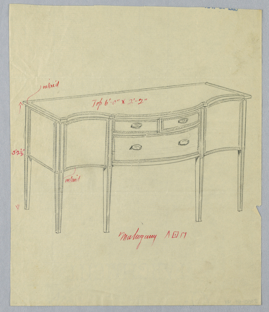 Oblong sideboard with 6 straight tapering legs; tri-partite serpentine front has 3 drawers arranged in 2 rows at center, flanked by 2 doors.