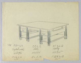 Drawing, Design for Library Table with Inscriptions Suggesting Three Variants of Woods to Be Used, 1900–05