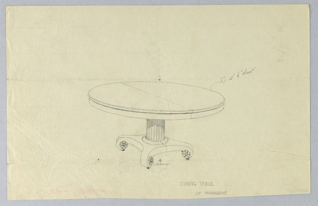 """Round molded top with dividing stretcher running across center, raised on fluted columnar support with molded double band around bottom, sitting atop """"X""""-shaped base terminating in scroll-like feet with carved floral rosettes."""