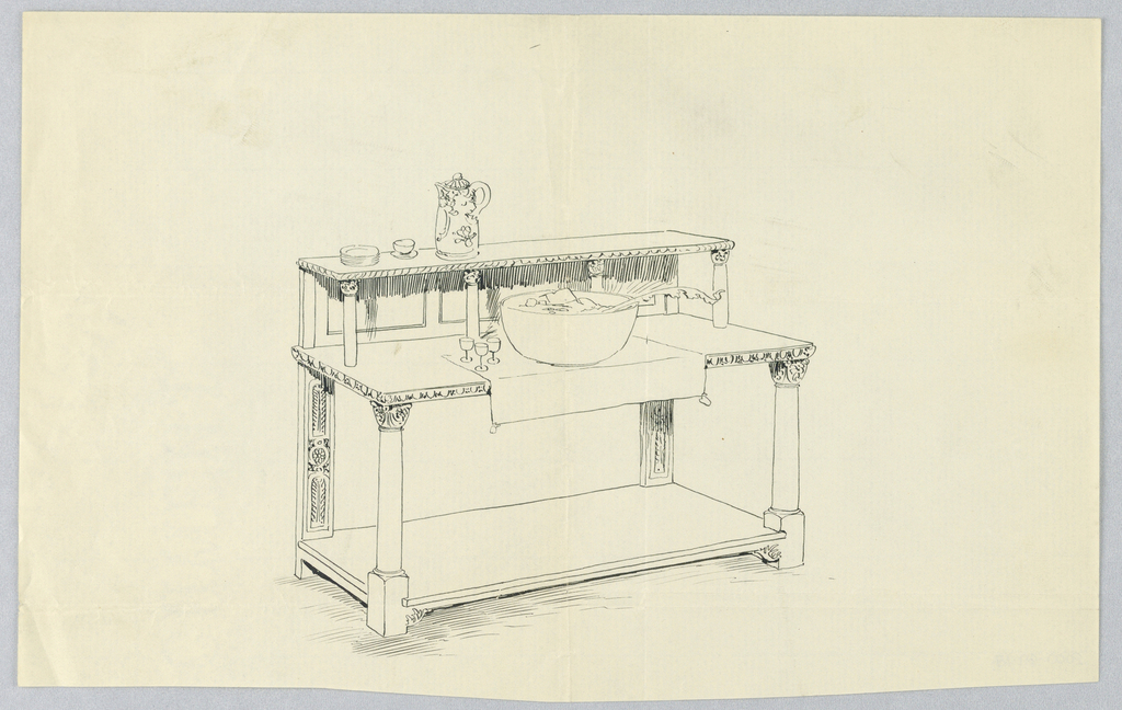 Rectangular sideboard with raised shelf at back of top and another shelf just above floor level; edges of top two shelves carved; uppermost shelf raised on four carved supports in column motifs; front legs also carved as columns; atop top shelf: stack of dessert plates, cup and saucer, and pitcher; atop sideboard top: cloth runner, punch bowl, and three glasses.