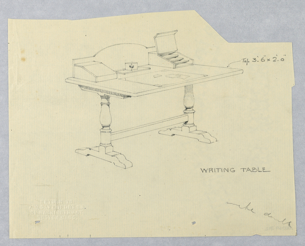 Drawing, Design for Rectangular Writing Table with Bracket-Shaped Legs and Open Cubbyhole
