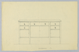Rectangular sideboard with six short tapering  legs [four shown]; eight drawers in tri-partite front: center, narrow horizontal drawer above larger one, these flanked by two smaller drawers over a cupboard on either side; low backsplash.