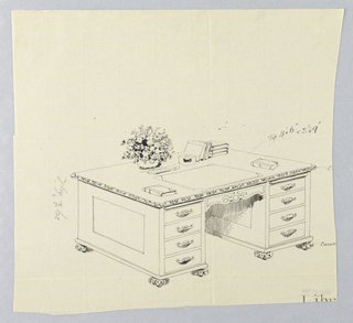 Drawing, Design for Library Table with Carved Cushion Feet and Vase of Flowers, etc. Atop, 1900–05