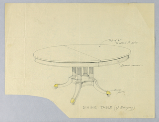 Round molded top with a dividing stretcher at center is raised on four reeded column-like supports sitting on molded rectangular basae terminating in four splayed legs with brass feet on casters indicated in yellow color pencil.