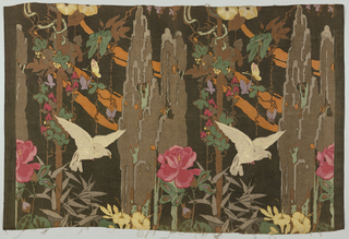 Multi-colored block print on black linen. Pattern repeats in vertical rows, matched side to side. Large gray dove-like bird in flight among towering, brown cypress trees and bamboo-like shoot with grey leaves. Completing the motif are large red and pink peonies, yellow trumpet-shaped flowers, lavender butterflies, and orange cloud forms floating in the background
