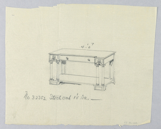 Drawing, Design for Serving Table with Single Drawer