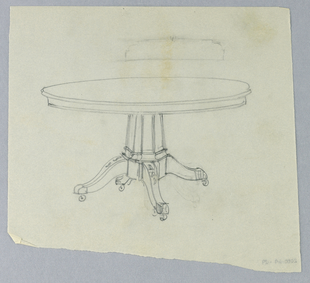 Round molded table top raised on molded flaring muti-faceted support sitting atop conforming base raised on 4 splayed legs with casters.
