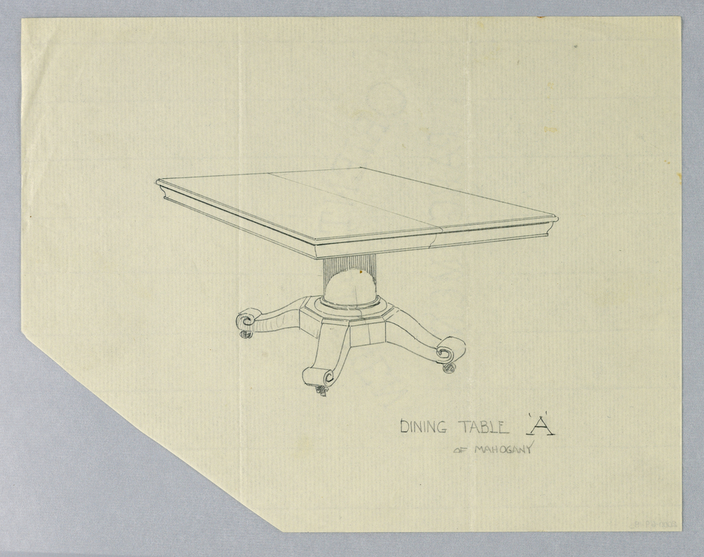 Drawing, Design for Rectangular Dining Table 'A' of Mahogany, 1900–05