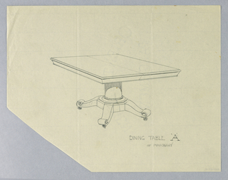 Drawing, Design for Rectangular Dining Table 'A' of Mahogany