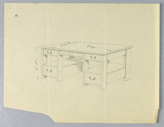 """Drawing, Design for Library Table """"A"""" with Open Shelves Between Drawers, 1900–05"""