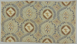 Brown, tan, yellow and blue block print on pale green linen. Classical motifs in off-set rows. Circular medallion alternates with elliptically framed flower - with birds and squirrels on leaves. Ellipse is connected by strands of pearls to other motif.