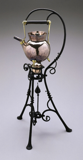 Wrought iron stand (d) on three legs, with tendril curls of iron to create struts between legs, and to form overhanging curved handle. Globular copper kettle (a) with flared neck, angled spout, and three legs, with inset lid (b) with turned ebony finial. Pot with brass handles and cylindrical ebony handle, which hangs from overhanging iron stand above a copper burner (c).