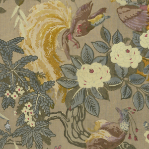 Polychrome block print on grey ground. Serpentine branch with blue leaves and white flowers, three brown  birds with bright yellow tail feathers. One large blue bird and several smaller birds in the branches. Pattern repeat: half drop repeat.