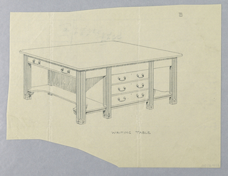 Drawing, Design for Writing Table with Central Drawers and Concave Side Stretcher Shelves, 1900–05