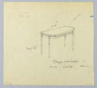 Drawing, Design for Recangular Mahogany Card Table with Painted Decoration
