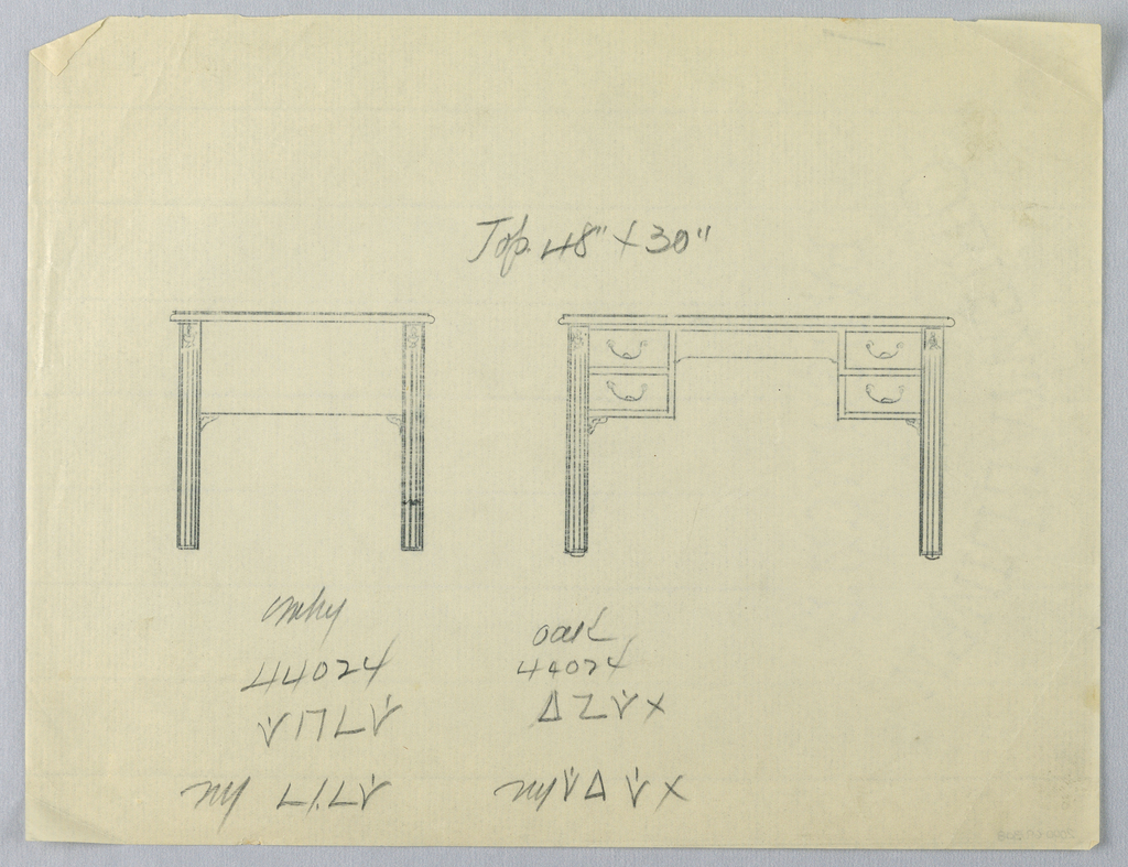 Drawing, Tracing of Design for Writing Table in Two Views, # 44024