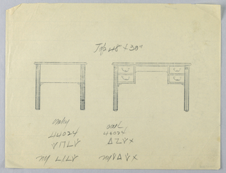 Drawing, Tracing of Design for Writing Table in Two Views, # 44024, 1900–05