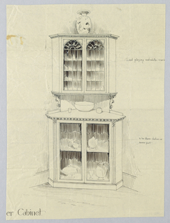 Tall corner cabinet consisting of lower triangular-shaped cupboard with 2 front glass doors and 2 shelves which hold pieces of china; canted corners and molded top, surmounted by separate conforming top cupboard  with arch-like front glass doors and raised on triangular back board decorated with carved spandrels on either side.  Lower cabinet has large bowl and pair of cups atop and top cabinet surmounted by porcelain vase.