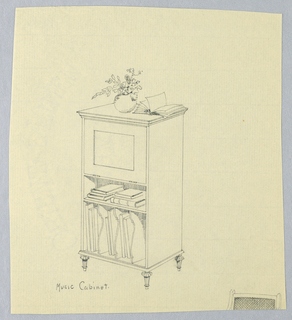 Rectangular body with hinged upper drawer and 2 open lower shelves with stacks of books and music notebooks separated by molded dividers; raised on 4 small tapering en toupee feet; fragment of chair drawing cut off at bottom of sheet; flower vase and open book atop cabinet.