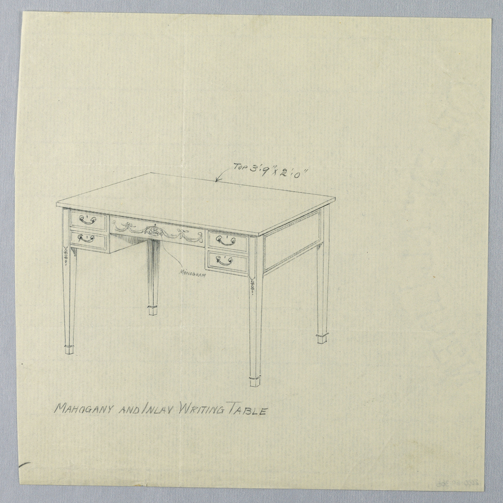 Drawing, Design for Rectangular Writing Table with Area for Monogram on Center Drawer