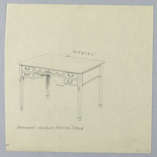 Drawing, Design for Rectangular Writing Table with Area for Monogram on Center Drawer, 1900–05