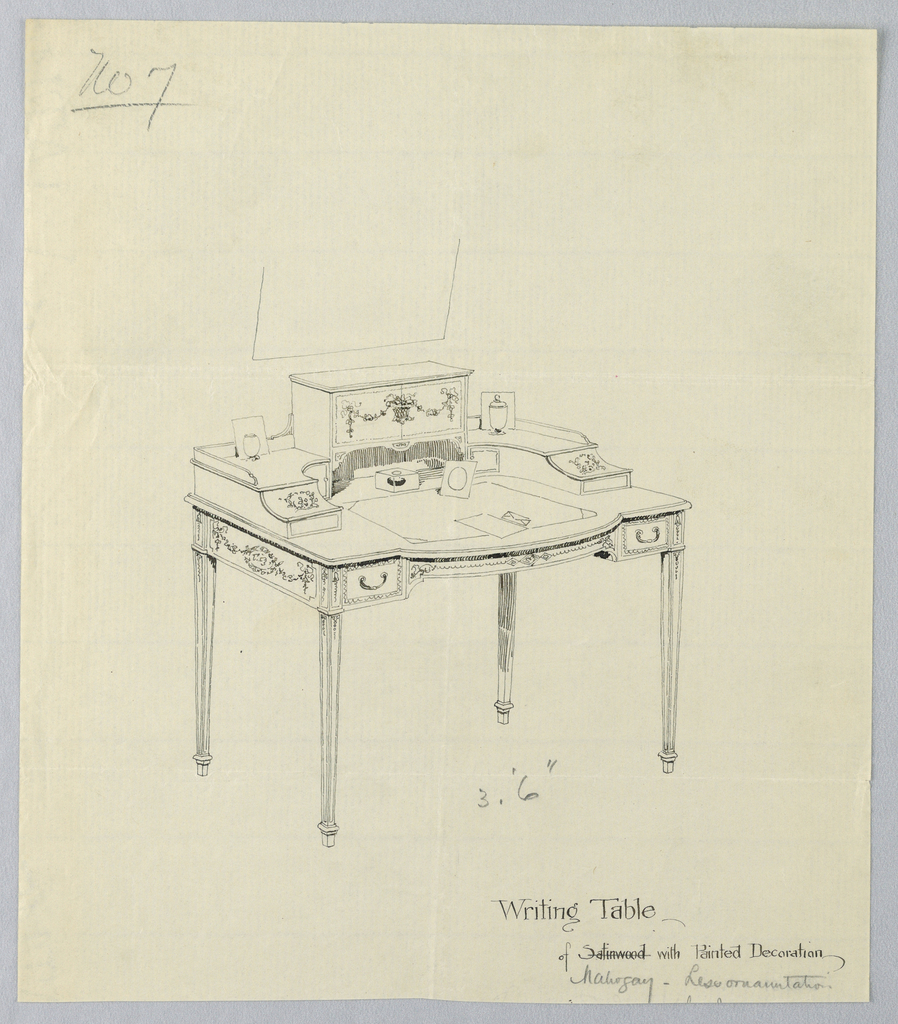 Drawing, Design for Writing Table No. 7