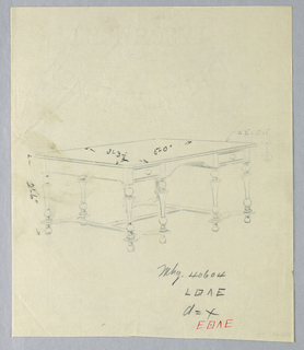 "Drawing, Design for Library Table with ""H"" Stretchers and Ball Feet, 1900–05"
