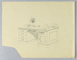 Drawing, Design for Massive Library Table with Carved Floral Roundel Center Front and Pulled-Out Shelf, 1900–05
