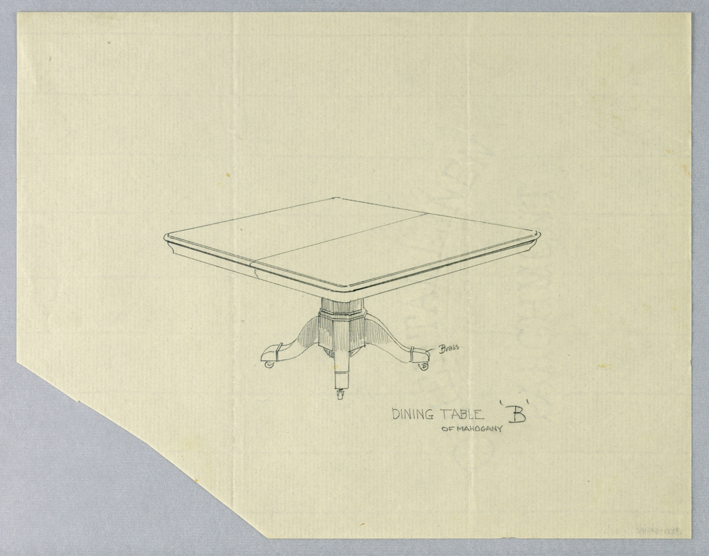 Rectangular molded top raised on octagonal, faceted, columnar support with rounded bottom, terminating in 4 splayed legs on casters.