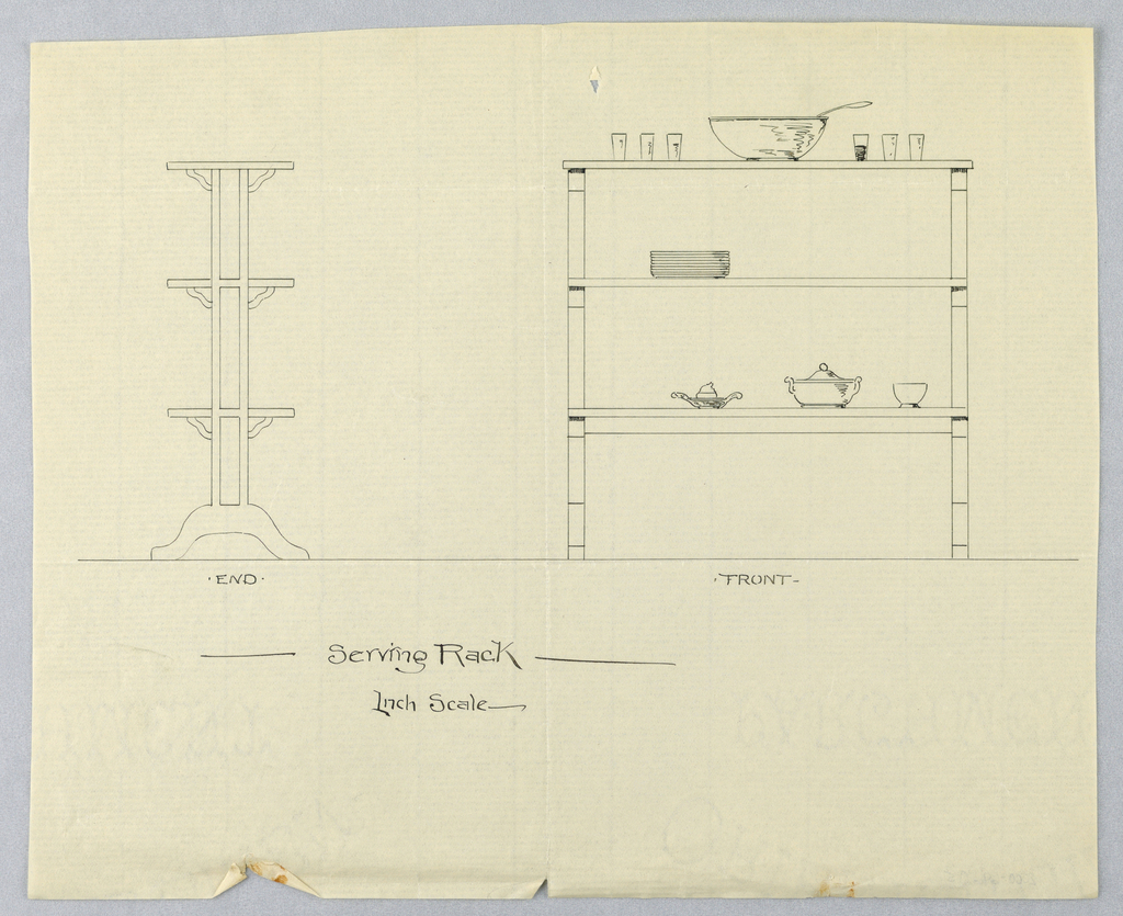Side elevation of serving rack at left; each shelf supported by curvolinear brackets.  Front elevation of rack is at right.   On front elevation, atop top shelf are punch bowl and six glasses; stack of plates rests on middle shelf; serving dishes are on bottom shelf.