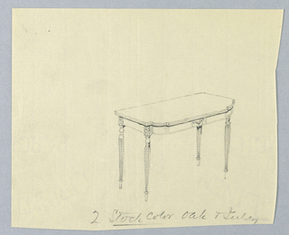 Drawing, Design for Card Table in Oak and Inlay