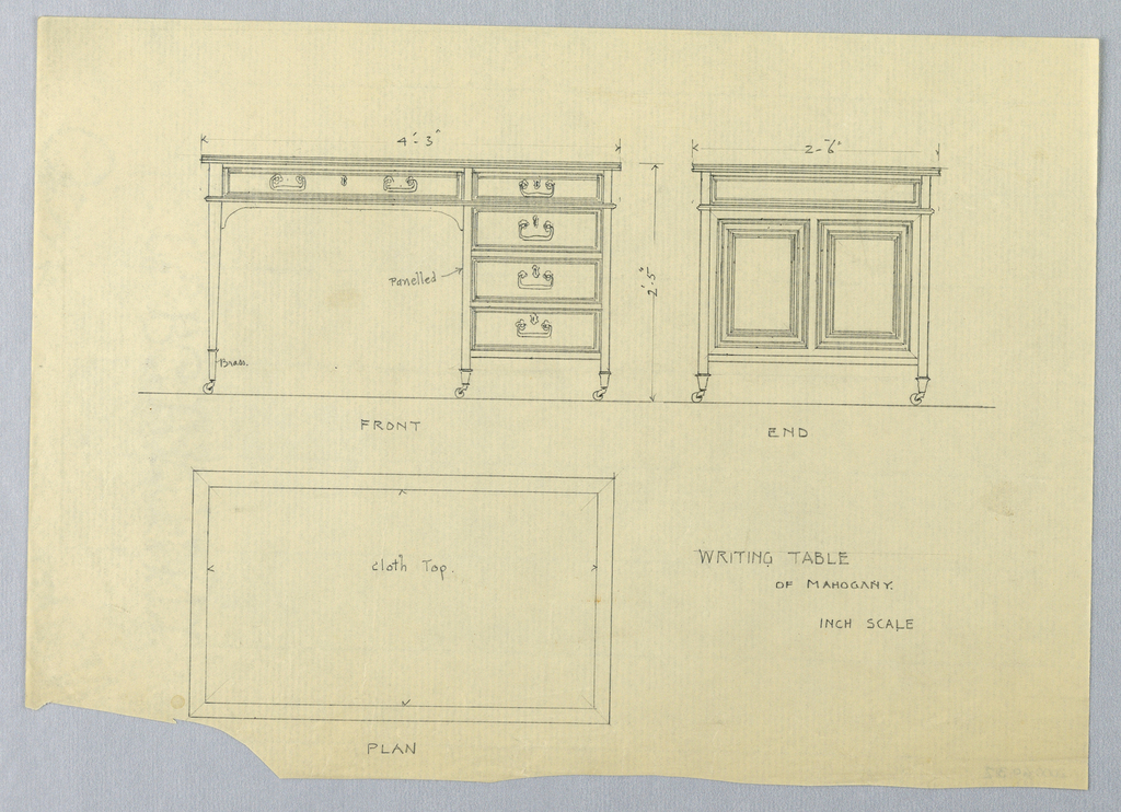 Drawing, Design for Rectangular Writing Table on Casters in Three Views