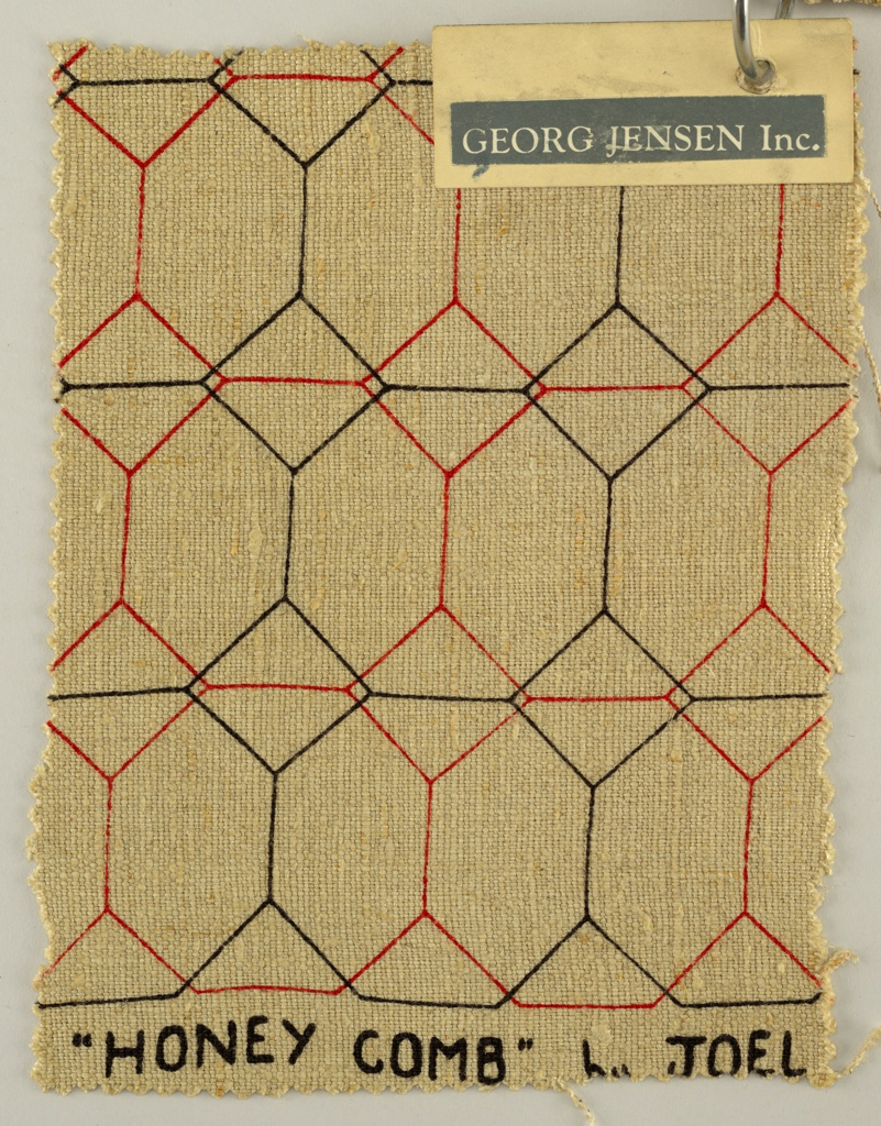 Sample of natural linen printed with a red and black linear design with rows of intersecting diamond shapes connected with vertical and horizontal lines.