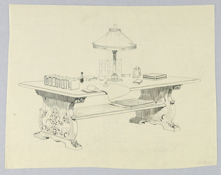 Drawing, Design for Library Table with Elaborate, Carved, Solid Sides and Large Book on Stretcher Shelf, 1900–05