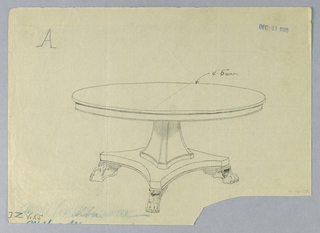 Round molded table top raised on flaring molded rectangular support standing on molded base terminating in four molded and easved winged animal-paw feet.
