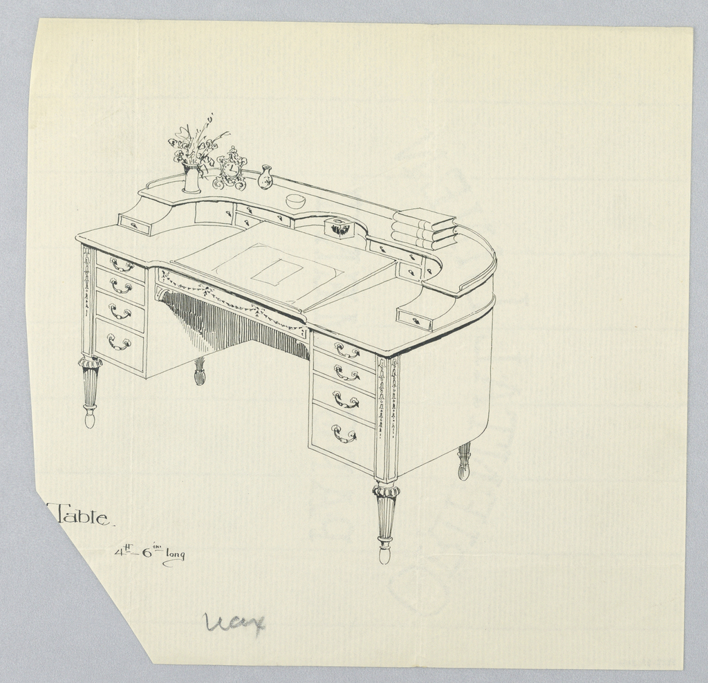 Two-tier writing table with rounded back, raised on 4 tapering, fluted legs; cut-out center bottom flanked by 4 drawers of varying sizes stacked vertically on either side; blotter and inkwell top center; upper section has 8 drawers of varying sizes with stack of books upper right and vases (one with flowers) and an ornate clock upper left.