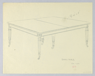 Rectangular molded top with rounded corners and dividing stretcher running across center, raised on 6 [5 shown] carved, turned and fluted tapering legs on casters.  Floral decorations at table top corners.