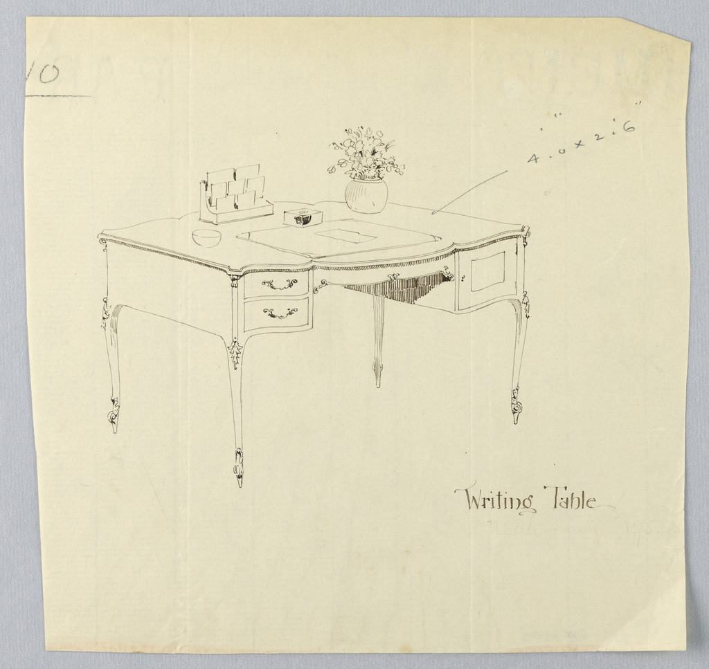 Drawing, Design for Writing Table with Scalloped Front and Vase of Flowers