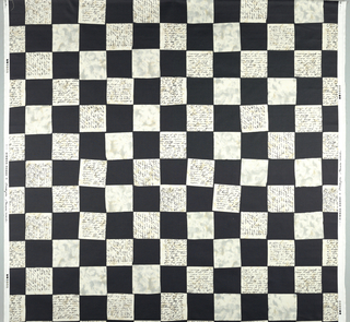 Checker board squares in black and white mottled with gray. Black script insome white squares.