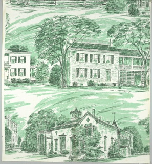 Eight buildings, all representing historic buildings in Indiana. Some buildings are only completed when lengths are sewn together. For identification of the buildings see research file.