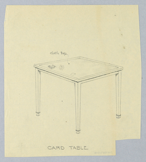 Drawing, Design for Square Card Table with Cloth Atop