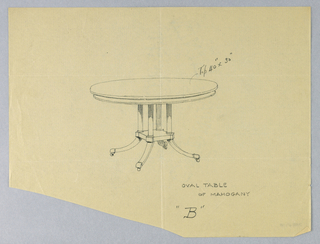 Oval molded table top is raised on four slender column-shaped supports sitting atop a molded rectangular base raised on four splayed legs with casters.