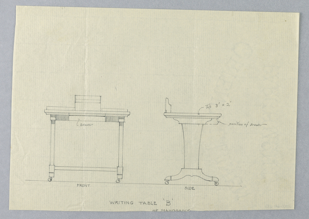 """Drawing, Design for Writing Table """"B"""" in Elevation and Side Views"""
