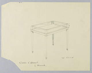 Rectangular table with glass-encased top, raised on 4 straight, slightly tapering legs.