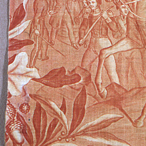 """A single vignette repeated vertically - """"Arrivee de Louis Philippe a la Chambre des Deputes"""". Printed in red on white."""