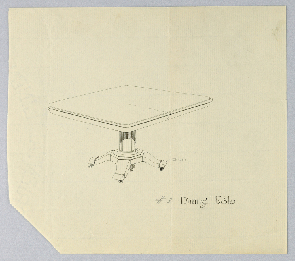 Rectangular molded table top with dividing stretcher running across center, raised on fluted columnar support with molded triple band around bottom, sitting atop octagonal base terminating in 4 short splayed legs with brass feet on casters.