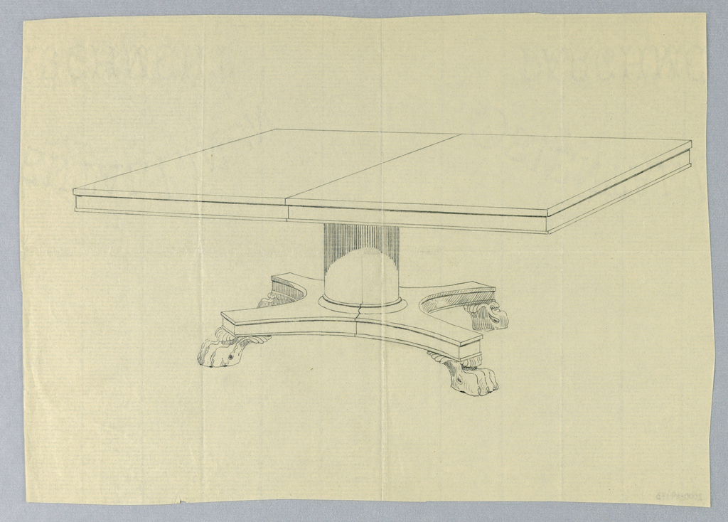 Drawing, Design for Rectangular Table on Carved Animal Paw Feet
