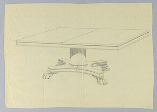 """Large molded rectangular table top with dividing stretcher running across center, raised on plain straight columnar support with molded double band around bottom, sitting atop """"X""""-shaped molded base terminating in 4 molded and carved animal-paw feet."""