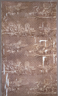 """Allegorical scenes based on the Napoleonic Wars. Printed in purple on white. Signed """"Delmes Sculptist""""."""
